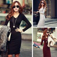Winter new large size women bottoming Slim V-neck knit dress winter dress Free Shipping XE3235#M4