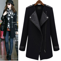 Autumn Winter new arrival 2014 POLO Collar Long sections plus clothing plus size jacket fashion cardigan coat woolen overcoat