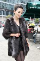 EMS EMC Free Shipping Women 2014 2015 New Arrival Real Natural Genuine Fox Fur Long Coat Customise big size  Fur Winter FP350