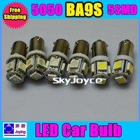 Wholesale 100pcs T11 BA9S Xenon White 5050 SMD 5 LED Car Light Bulb Lamp T4W 3886X H6W 363 12V 5SMD Door Light SQ1457