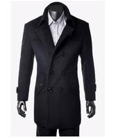 2014 New Fashion Plaid Men's woolen coat long section of the British style coat jacket