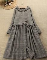England style  peter pan collar drawstring plaid dress cotton female mori girl quality boutique dress