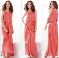 2015 New Korean Style Women Pleated Long Bohemian Casual Dress Chiffon Women Clothing Vintage Long Summer Dress Free Shipping