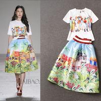 Runway 2015 Short Sleeve Printed Shirt +Stunning Printed Skirt  Skirt Suits   (1 set)   141105Z05