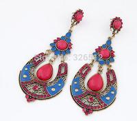 Korean gold-plated rose dangle earrings resin flower crystal long chandelier earrings indian style jewelry