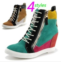 Free shipping 2014 hot sell women Sneakers,Genuine Leather or Canvas,size 35~39,Height Increasing 6cm,Women`s Shoes Boots
