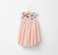 Girls printing flowers gauze splicing sleeveless dress green pink