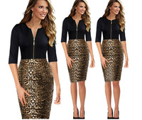 2015 New Leopard Black Stitching Women Pencil Dress Party dresses for Ladies Office Dress Fashion clothing