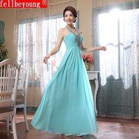 2014 Blue Long V-neck Bridesmaid Dresses Prom Formal Dress Sequined Dress Wedding Dress under $60