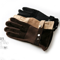 2014 warm winter plus thick velvet cycling men's leather gloves