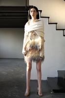 Doolittle sym14 women's multi-layer gradient color limoux feather half-skirt short skirt single double faced