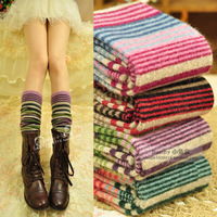 New Arrival Winter Warm Leg Warmers for Women Fashion Colorful Striped Rabbit Wool Socks Women high knee knitted Socks 6pair/lot