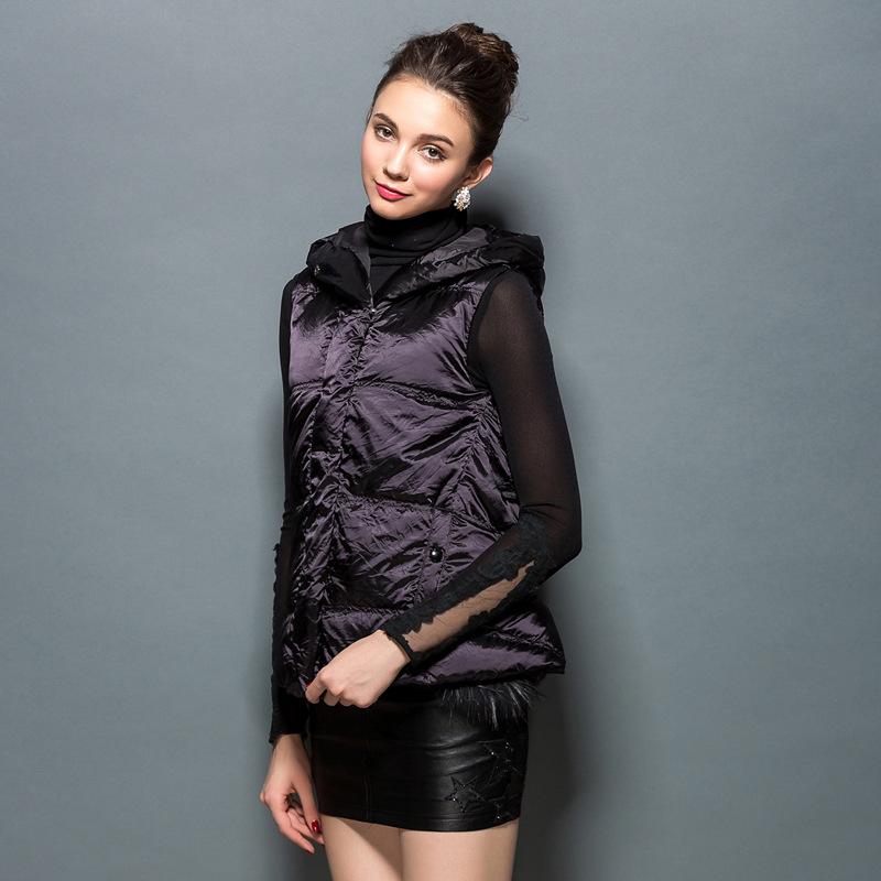 European style new super warm winter white eiderdown hooded variable vest Jacket Women(China (Mainland))