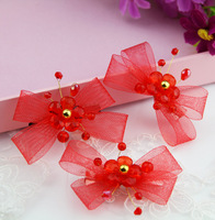 The bride red beaded bow the wedding hair accessory formal dress cheongsam accessories style accessories