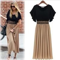 2014 New Fashion Bohemian Women's High Waist Ruffle Sleeve Sexy Vintage Long Chiffon Maxi Dress On sale Plus Size Wholesale