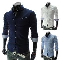 Korea style mans stylish Unique tailor male slim casual blouse 2015 New Arrival characteristic Shirt