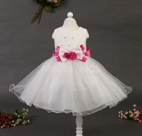 2014 New wholesale rose flower girl kids wedding dress,princess dress with bow ,children clothes free shipping  6pcs/lot TY-12