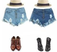 Hot Sale 2014 new women's hole washing ultrashort high waist denim shorts women jeans drop shipping wholesale and retail