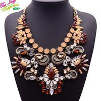 New Arrival Fashion ZA Big Brand Crystal Mental Good Quality Collar Choker Clain Shourouk Flower Jewelry 9577