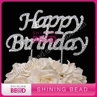 happy birthday rhinestone cake topper for party,free shipping,fashion weddng rhinestone cake topper