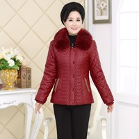 Middle and old aged women's fur collar Pu leather coat wholesale new 2014 middle-aged women's winter jacket mother dress
