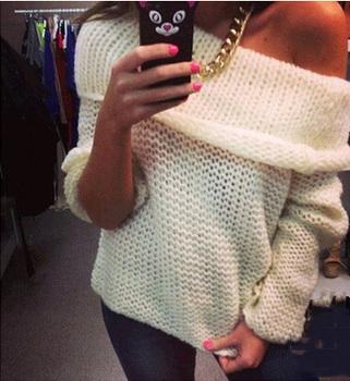 Женщины сексуальный off-плечи свободного покроя пуловер свитер пончо без тары трикотаж ...