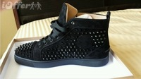 Christianity LOUIS BLACK Suede SPIKES SNEAKERS Frenum MEN'S SHOES red-soled shoes