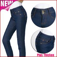 Women denim warm jeans 2014 new winter fashion high waist fleece thick trousers ladies casual pencil pants pantalones mujer k33