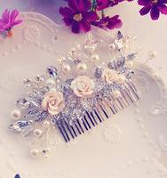 Bride rose handmade beaded bride hair accessory comb hairpin bridal wedding dress accessories