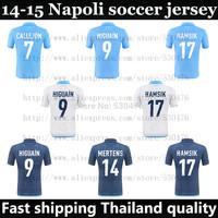 Top Thai Quality 14 15 Napoli soccer jersey 2015 HIGUAIN CALLEJON HAMSIK MERTENS Home Away football shirt blue white free ship