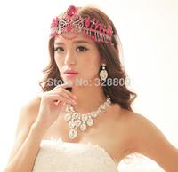 European style Fashion Gorgeous crystal big tiaras frontlet chain wedding bridal diadem wedding dress rhinestone crown  jewelry