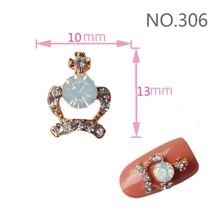 Min Order $10 20Pcs/lot 2014 New 3D Nail Art Decorations Alloy Fashion Crown with Blue Opal Rhinestone Metallic Nails DIY(China (Mainland))