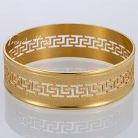 14/15/19/20mm Vintage Big Frosted Greek Pattern Mens Womens Bangle Gold Tone Stainless Steel Unopenable Bangle Bracelet KG92