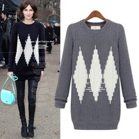 Plus Size 4XL Fall Winter Thicken Warm Slim Fit Round Collar Long Sweater Women Color matching Grey Blue New 2014