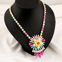 Shourouk Resin Gem Chain Layered Flower Drop Layered Bib Statement Necklace & Pendants 2014 Fashion Jewelry Women Wholesale N170