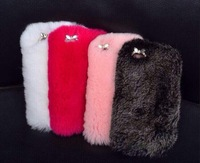 New Luxuxy Real rex rabbit hair fur plush leather case For iPhone 6