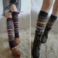 2014 new style womens boot socks rabbit wool knee high winter warm Leg Warmers water ripple boot gaiters 6pairs/lot