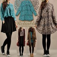 Hot sale autumn women medium-long long-sleeve casual dress bohemian loose bourette one-piece floral dresses female 1056