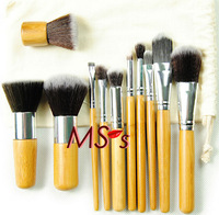 Free Shipping!! 11pcs Fiber make up tools kit Cosmetic Beauty Makeup Brush Sets with White Linen Pouch Bag Gift