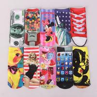 Free NEW 3D Printed Unisex Cute Low Cut Ankle Socks Multiple Colors Harajuku Style Star sets/Telephone /shoes/Skeleton socks