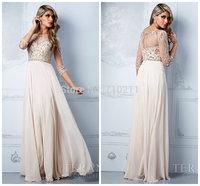 PD038 long Sleeve Prom Dress A-line Bateau Neck Beaded and Rhinestones Chiffon Prom Dresses Long Elegant Prom Dress