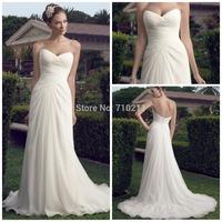 WD075 Beach Wedding Dress Strapless Sweetheart Neck Chiffon Vintage White Wedding Dresses 2014 Fashion Plus Size Wedding Dress