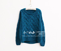 Women fashion restoring ancient twist flower loose woven O- neck long sleeve pullover sweater