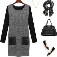 2014 New Autumn Winter Women Dress Black Grey Patchwork Pocket Casual Dress Long Sleeve O-neck Slim Dresses free shipping