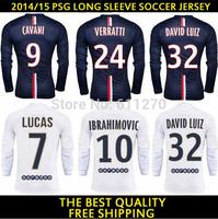2015 Football Jersey IBRAHIMOVIC DAVID LUIZ CAVANI VERRATTI SILVA LUCAS MATUIDI 14 15 Long sleeve soccer Jersey