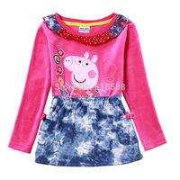 Best-selling New Peppa pig Dresses Girls False 2pcs Long sleeve Cartoon Pink Pig Dress Dot girl's Pepe pig dress Cotton 2Y-6Y
