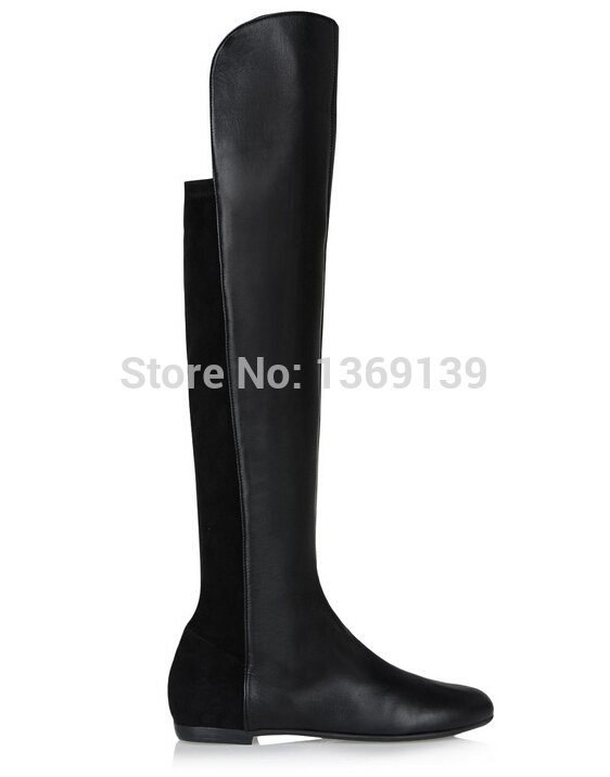 Women Motorcycle Boots Black Suede Leather Thigh High Boots Over Knee Elastic Designer Heels Winter Boots For Winter Shoes Woman(China (Mainland))