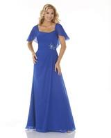 Removable Shawl Spaghetti Strap Blue Beading Flower Ruffle Back Zipper Women Long Chiffon Evening Dresses