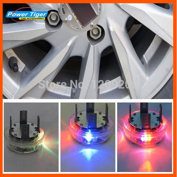 Car Styling 4pcs/lot Solar Energy Power LED Car Wheel 12V LED Solar Powered shinning wheel hub light waterproof Tires Car Light(China (Mainland))