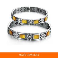 Charm Golden Crystal CZ diamond Titanium Steel Chain Couples MagneticTherapy Health Bracelet(MATE B239)
